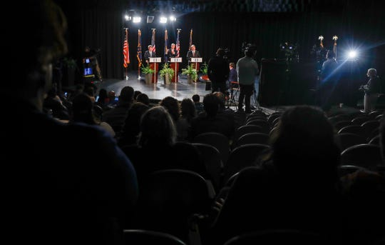 The final Mayoral debate with Mayor Joe Hogsett, State Senator Jim Merritt and Libertarian candidate Douglas McNaughton was held at MSD Wayne Township Chapel Hill 7th & 8th Grade Center, Monday, Oct. 28, 2019, Indianapolis. The debate focuses on crime/public safety, roads/transportation and economic development in Indianapolis.