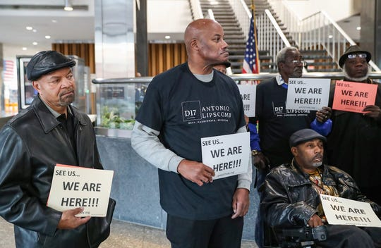 Nearly three dozen community activists gathered for a demonstration at the City-County Building in Indianapolis, Monday, Oct. 28, 2019. In light of the mayoral race, participants called on city leaders to support the black community in Indianapolis, particularly disadvantaged groups,  such as people effected by homelessness and ex-offenders re-entering society.