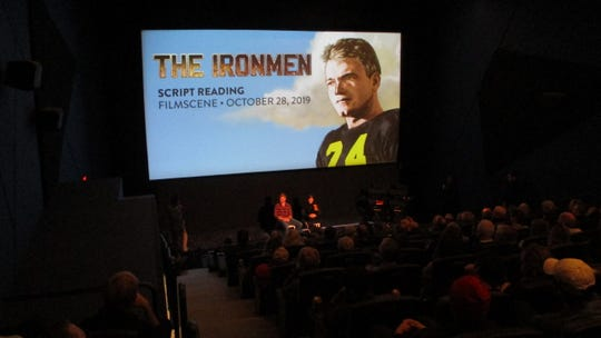 "Over 100 people crowd into FilmScene's Chauncey location to see the script reading of ""The Ironmen"" the night of Monday, Oct. 28, 2019."