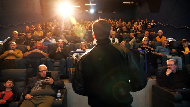 """Actor Shane Graham visited Iowa City on Monday, Oct. 28, to a full theater at FilmScene to read for Nile Kinnick in the most recent draft of """"The Ironmen."""""""