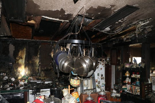 An electric stove top left on during a power outage in Counce, Tenn. ignited the home's kitchen Tuesday after power was restored to the area, prompting officials to remind those without electricity to turn off electric appliances.