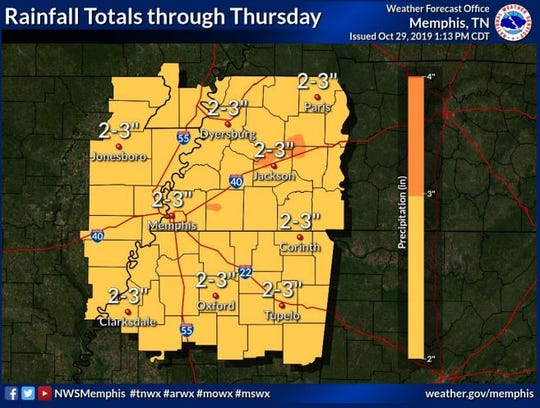 West Tennessee is expected to get up to three inches of rain through Thursday in areas already devastated by Saturday's storms. The areas are also expected to see temperatures in the low 30s.
