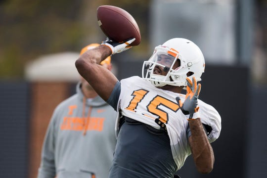 Tennessee wide receiver Jauan Jennings (15) throws a pass during University of Tennessee Vols football practice Tuesday, Oct. 29, 2019.