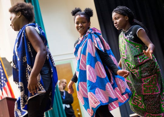 Green Magnet STEAM Academy African Dance Squad performs during the school's 110th anniversary celebration on Friday, Oct. 25, 2019.