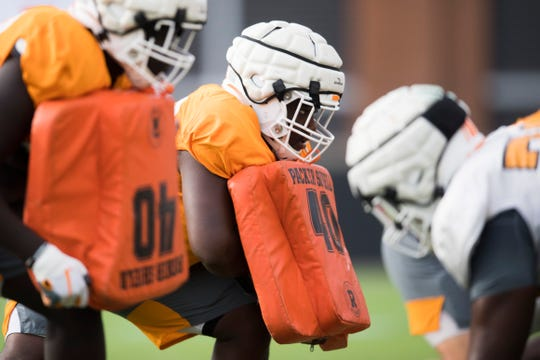 Players participate in drills during University of Tennessee Vols football practice Tuesday, Oct. 29, 2019.