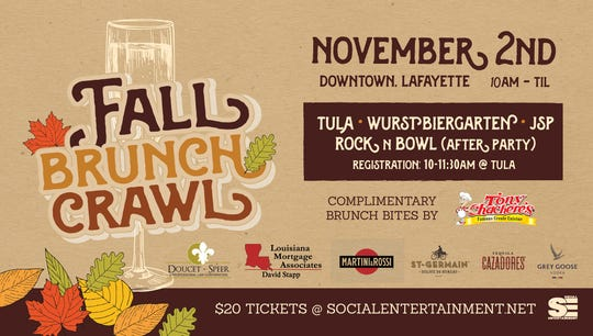 The second annual Fall Brunch Crawl is set for Nov. 2. starting at 10 a.m.