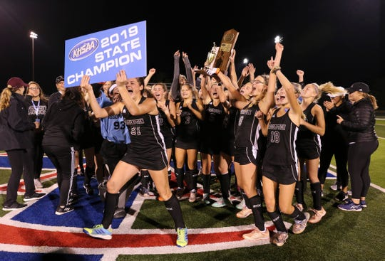 Assumption celebrated after they defeated Christian Academy of Louisville to win the KHSAA Field Hockey Championship on the CAL field in Louisville, Ky. on Oct. 28, 2019.