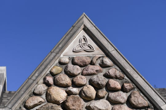 A detail of the stone house that once was a church in Eaton Rapids.