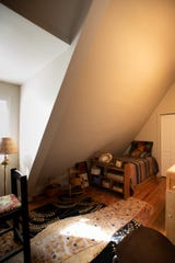 A bedroom in Jacqueline Drewe's Eaton Rapids home that once was a church.