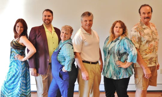 Manitowoc Masquers production of 'Mamma Mia!': Pictured from left, Sophia Bartels, Patrick Schamburek, Deanne Stokes, Pete Schoepp, Tessa Komorowski and Allan Fett.