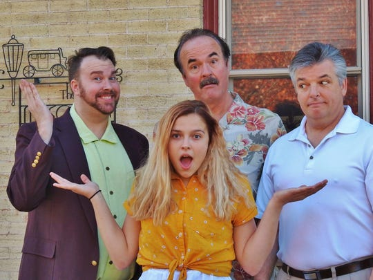 Manitowoc Masquers production of 'Mamma Mia!': From left, Patrick Schamburek, Alexa Malley, Allan Fett and Pete Schoepp.