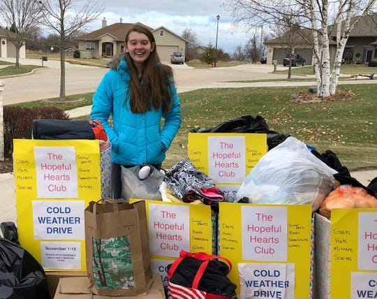 The Hopeful Hearts Club hosts a variety of collection drives, including the cold weather drive pictured here.
