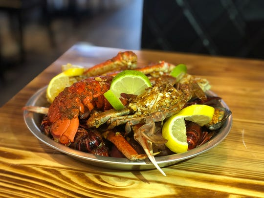 A custom seafood combo at Red Hook Cajun Seafood & Bar. The restaurant offers 12 different types of shellfish for their Cajun seafood boils.