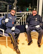 From left, Keystone Kops Geoff Fahringer and 