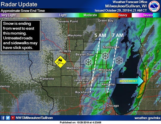 National Weather Service graphic shows the snow moving out over Lake Michigan Tuesday morning.