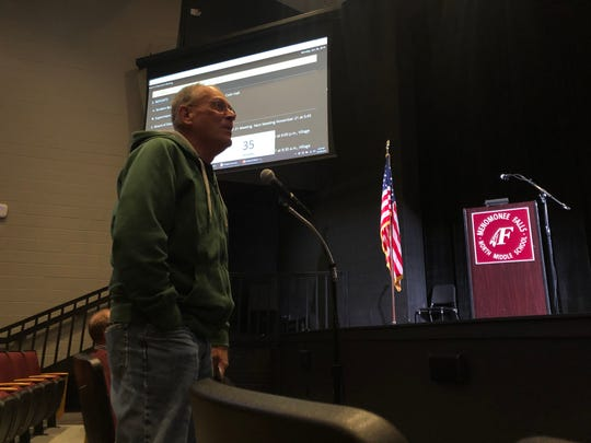 Menomonee Falls resident Terry Ullsperger weighs in during a public meeting on Oct. 28 about the possibility of the Menomonee Falls School District changing its use of a Native American mascot/nickname.