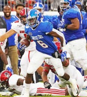 Tennessee State's leading rusher Te'kendrick Roberson (6) has rushed for 540 yards on 125 carries and scored four touchdowns.
