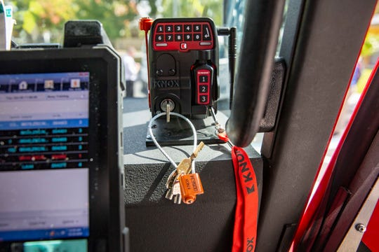 A Knox KeySecure 6 device is pictured on a Greater Naples Fire engine, Tuesday, Oct. 29, 2019, at the Greater Naples Fire Rescue's Fire and Life Safety Facility in North Naples.