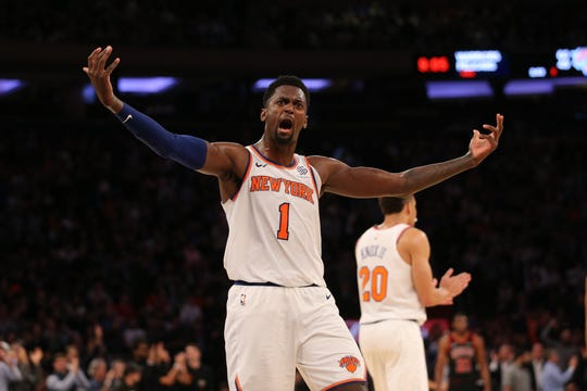 Oct 28, 2019; New York, NY, USA; New York Knicks power forward Bobby Portis (1) celebrates during the fourth quarter against the Chicago Bulls at Madison Square Garden. Mandatory Credit: Brad Penner-USA TODAY Sports