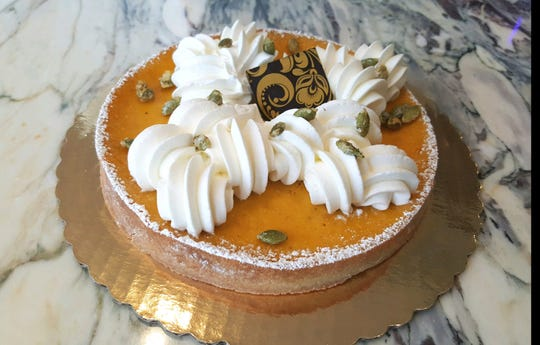 A gorgeous buttercup squash cheese tart available at Ciel in Westwood for the holidays,