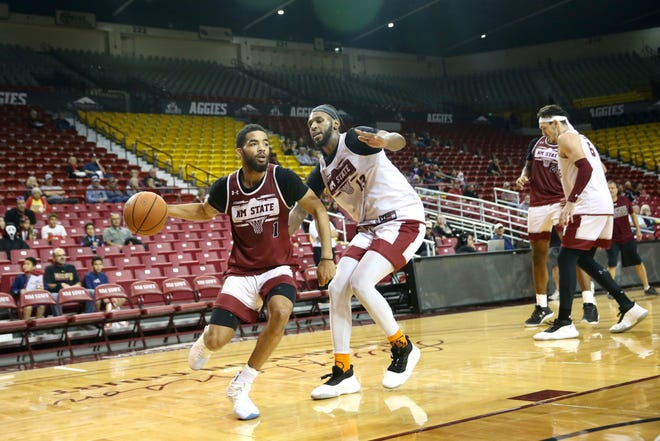 The New Mexico State men's basketball team held an open practice at the Pan American Center on Tuesday.