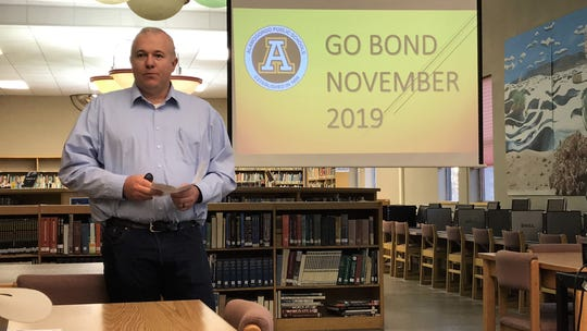 Alamogordo Public Schools  Chief of Capital Outlay and Facilities Justin Burks talks about the General Obligation Bond at Chaparral Middle School Oct. 23.