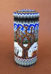 """Winter and the Hidden Promise of Spring"" by Robin Renner Miller, a beaded cover jar, will be featured in the 17th annual art sale and studio tour on Crouch Mesa this weekend."