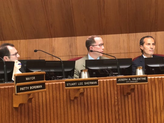 The Birmingham City Commission approved a change in contract terms, including a salary increase for Birmingham City Manager Joe Valentine (center) at their Oct. 28 meeting.