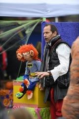 The ventriloquist team of Boytoe & Lazareth made for Halloween fun in downtown Farmington at the farmers market.