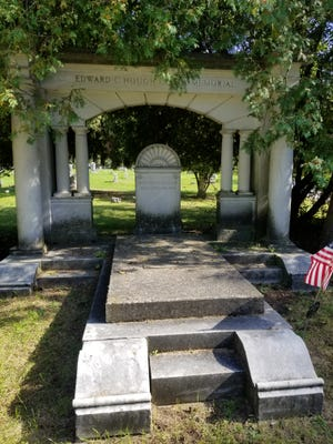 The large Edward Hough Family Memorial holds the names of six Hough family members. Edward Hough served as president of the Daisy Air Rifle Co.