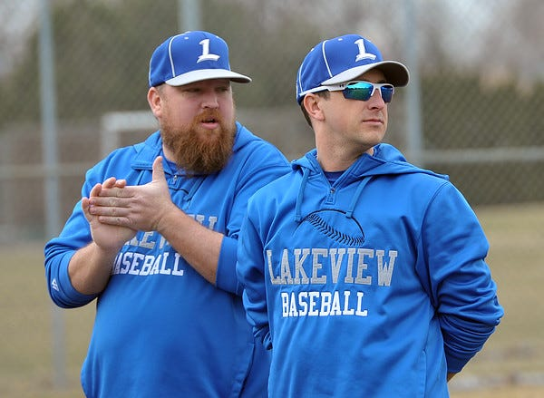 Scott McGregor (right) spent six seasons as the head varsity baseball coach at Lakeview High School.