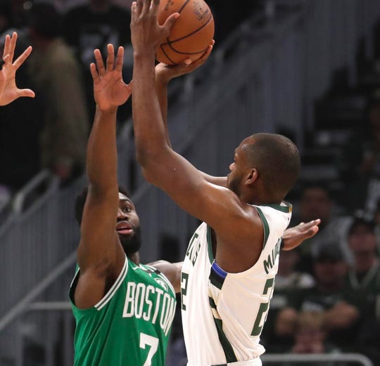 Khris Middleton and the Bucks and Jaylen Brown and the Celtics have squared off 19 times in the past two seasons. Middleton and Brown were also teammates on Team USA at this summer's FIBA World Cup.