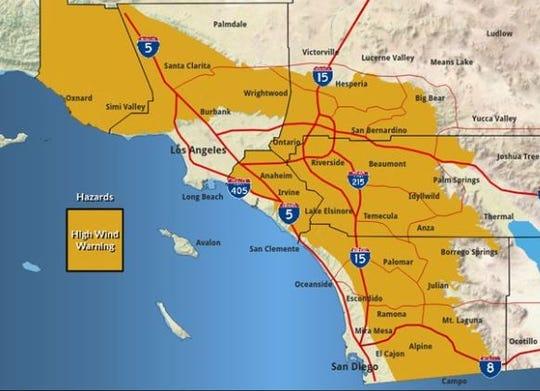 Areas under high wind warnings.