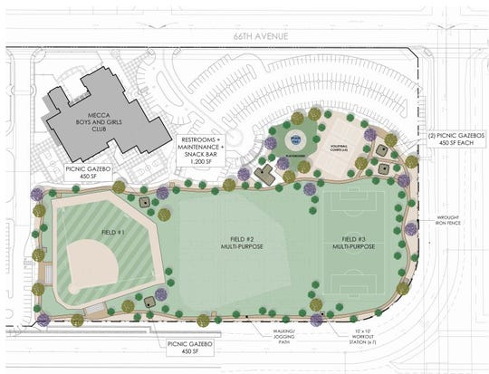 The proposed Mecca Regional Sports Park would be on 6.7 acres.