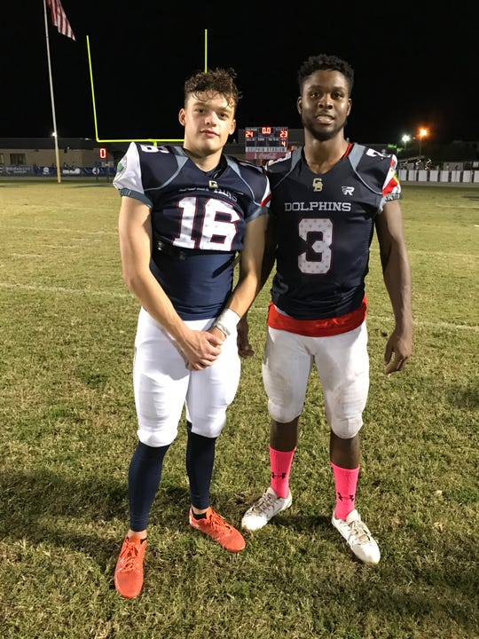 Gulf Breeze's Blaine Crook (16) at Leonard Brown (3) made critical special teams plays for the Dolphins to lead to a win over Pace on Monday night.