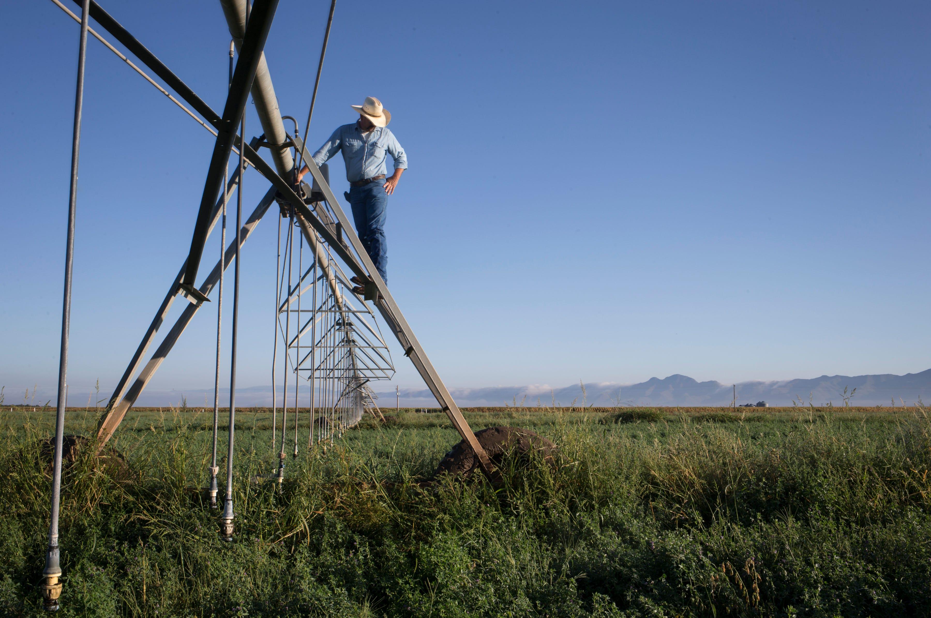 John Hart checks the control box on center-pivot that was stuck in an alfalfa field, Sept. 16, 2019, at Wagon Wheel Farms, Kansas Settlement, Arizona.