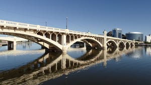A view under the Mill Avenue bridges that cross Tempe Town Lake on Oct. 14, 2019.