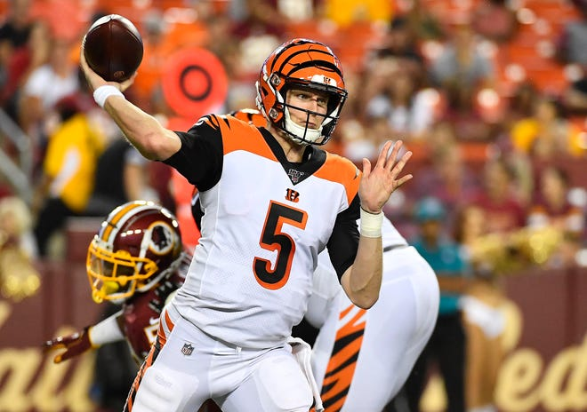 Bengals quarterback Ryan Finley throws a pass against the Redskins during a game on Aug. 15.