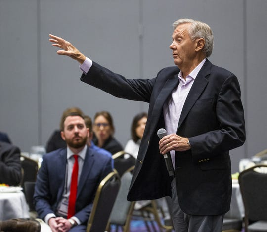 Former Gov. Bruce Babbitt speaks to a meeting of county supervisors from across Arizona about rural groundwater issues and his ideas for reform. The meeting took place at Harrah's Ak-Chin Hotel and Casino in Maricopa, Tuesday, October 29, 2019.