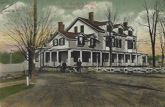 This vintage postcard shows the inn during the early 20th century when it was known as the Hoctor Hotel. The historic building, which was also home to Talbot's, was demolished in 1989 to make room for the Milestone Square Shopping Plaza parking lot.