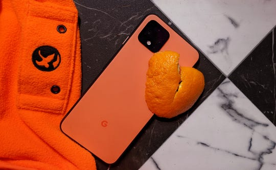 The 'Oh So Orange' on the Pixel 4 is less orange than a blaze orange hunting vest and less yellow than an orange fruit.
