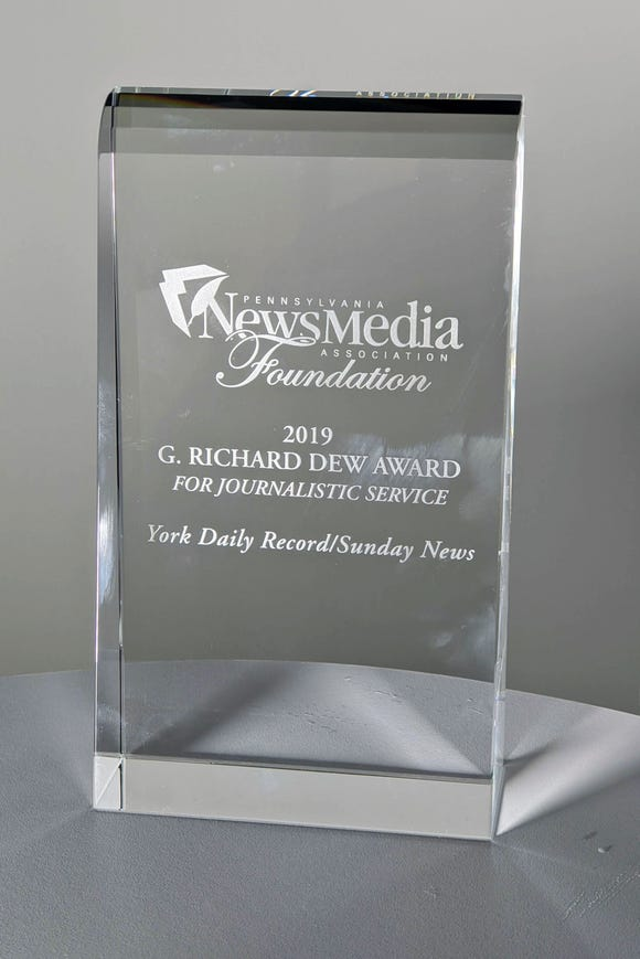 The 2019 Pennsylvania News Media Foundation's G. Richard Dew Award for Journalism Service presented to the  York Daily Record/Sunday News.