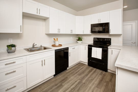 One of the kitchens at the new Steamboat by Vintage, a 360-unit affordable housing complex in South Reno now leasing to income-qualified families.