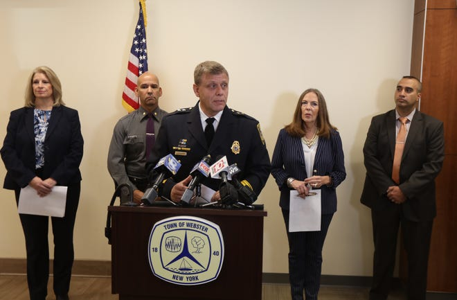 Webster Police Chief Joseph Rieger announces the arrest of Piero Scala, of Webster, who was charged with second-degree murder for allegedly killing Cathy O'Brien at her Oakdale Drive home in Webster.