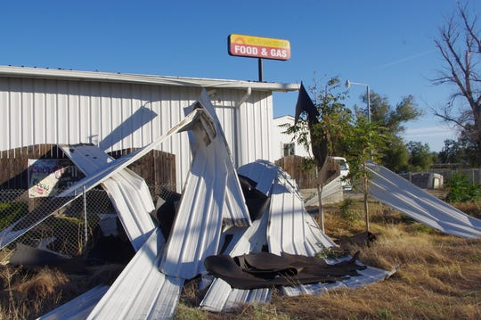 High winds over the weekend blew some of the sheeting off the Shunshine Food & Gas building in Cottonwood.