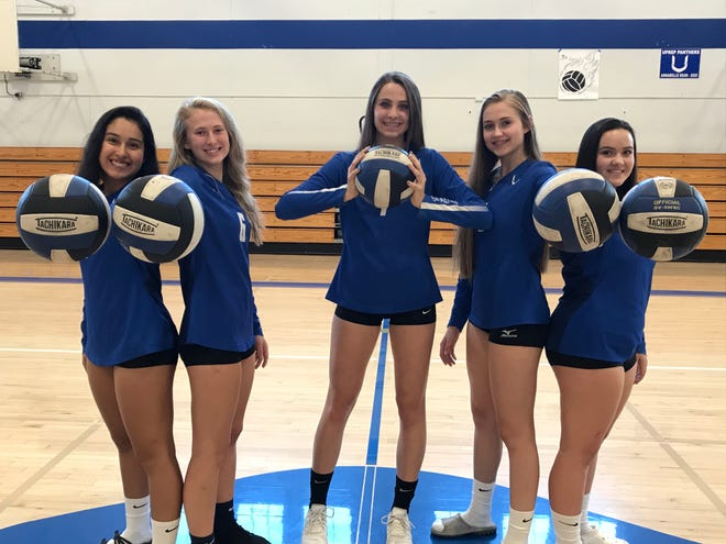 Seniors Kennedy Kremer (center) along with libero Gigi Elizarrarras (left) defensive specialist Emily Cox (left centered) Madi Friebel (right centered) and Alex Williams (right) are hoping to end their high school careers with a CIF Northern Section ring.