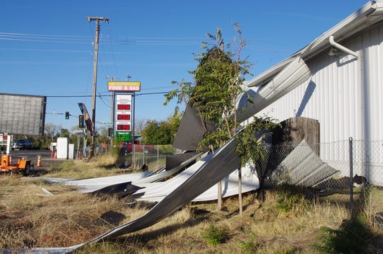 High winds over the weekend blew some of the sheeting off the Sunshine Food & Gas building in Cottonwood.
