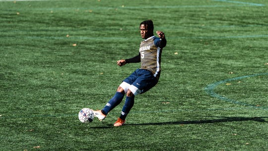 Allandro Brown scored two goals for Corban in their 3-2 victory over Northwest Christian.