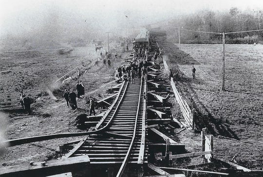 A Southern Pacific passenger train plunged through a dilapidated trestle at Lake Labish on Nov. 12, 1890.