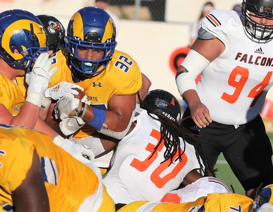 Angelo State University running back Daven Manning scores a touchdown against UT Permian Basin at LeGrand Stadium at 1st Community Credit Union Field on Saturday, Oct. 26, 2019. Manning is a San Angelo Central High School graduate.
